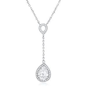 Silver Necklace With Pear Shaped Cubic Zirconia