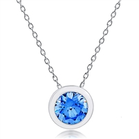 Silver Necklace with Blue Swarovski Crystal