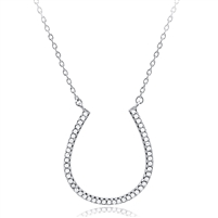 Silver Horseshoe Necklace with Cubic Zirconia