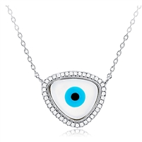 Silver Necklace Evil Eye With CZ
