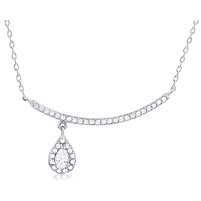 Silver Necklace With Pear Shape CZ Stone