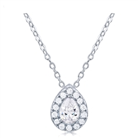 Silver Necklace Pear Shape With CZ