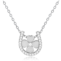 Silver Necklace Four Leaf Clover With Horse Shoe and CZ's