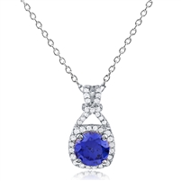 Silver Necklace With Sapphire CZ