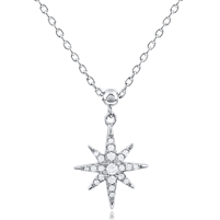 Silver Star Triangle Necklace With CZ