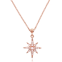 Silver Star Necklace Rose Plated with CZ