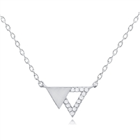 Silver Double Triangle Necklace With CZ