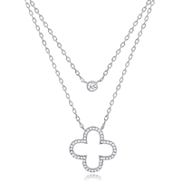 Silver Open Clover Layered Necklace with CZ