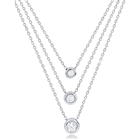 Silver Layered Necklace with Bezel Set CZ Stones