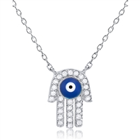 Silver Hamsa With Evil Eye Necklace with CZ