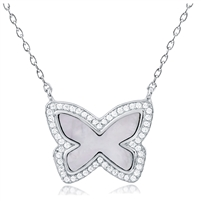 Silver Butterfly Necklace with Mother Of Pearl and CZ
