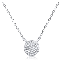 Silver Smile Face Necklace with CZ
