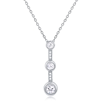 Silver Necklace with CZ Stones