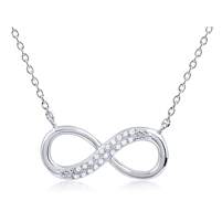 Silver Infinity Necklace with CZ