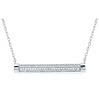 Silver Bar Necklace with CZ