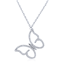 Silver Butterfly Necklace with CZ