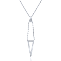 Silver Triangle Necklace with CZ