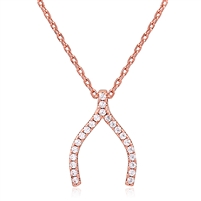Silver Wishbone Rose Gold Plated Necklace with CZ
