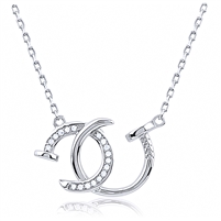 Silver Double Nail Necklace with CZ