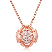 Silver Rose Gold Plated Necklace with CZ
