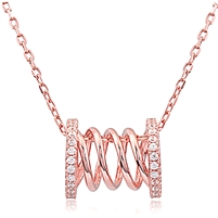 Silver Spring Rose Gold Plated Necklace with CZ