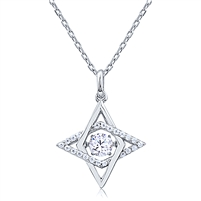 Silver Necklace with CZ and Dancing CZ Center Stone