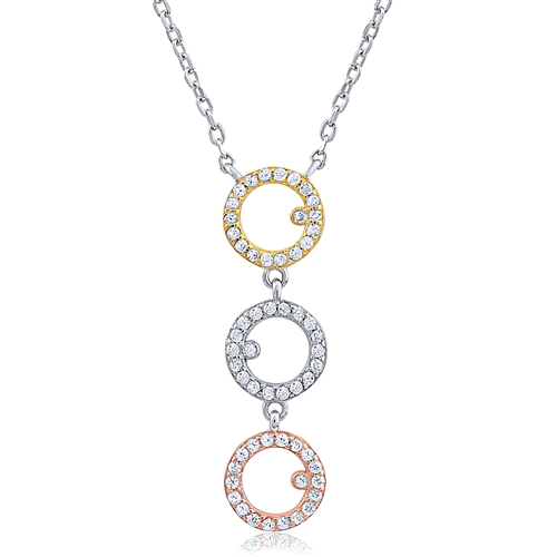 b1dc27594 Silver Three Circles Necklace With CZ. Rose Gold and Gold Plated