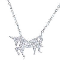 Silver Unicorn Necklace with CZ