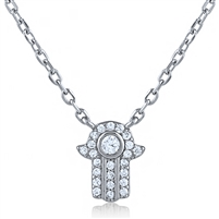 Silver Hamsa Necklace with CZ