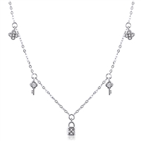 Silver Lariat Necklace With Faux Pearl And CZ