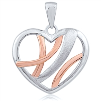 Plain Silver Heart Two Tone Rose Gold and Rhodium Plated Pendant