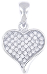 Silver Heart Pendant with Micro Set Cubic Zirconia