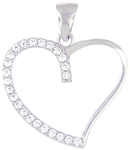Silver Heart Pendant with Cubic Zirconia