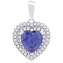 Silver Heart Pendant with Micro Set CZ