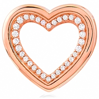 Silver Heart Pendant with CZ And Rose Gold