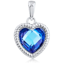 Silver Heart Pendant With Blue CZ