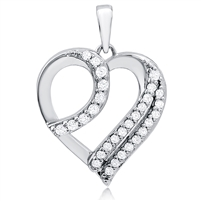 Silver Heart Pendant With CZ