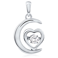 Silver Heart Pendant With CZ Dancing Stone