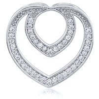 Silver Rhodium Plated Heart Pendant With CZ
