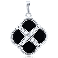 Silver Pendant - Black Onyx With CZ