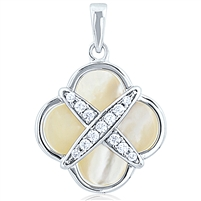 Silver Pendant - Mother Pearl With CZ