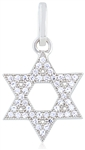 Silver Star of David Pendant with Cubic Zirconia