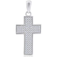 Silver Cross Pendant with Micro Set CZ