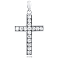 Silver Cross Pendant with CZ