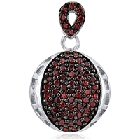 Silver Pendant with Red Cubic Zirconia