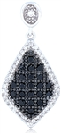 Silver Pendant with Black & White Cubic Zirconia