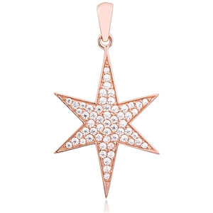 Silver Star Pendant with CZ