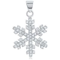Silver Snowflake Pendant with CZ