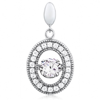 Silver Pendant With Dancing CZ