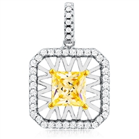 Silver Pendant With Yellow Princes Cut Stone and White CZ